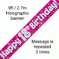 Pink 18th Happy Birthday Party Banner