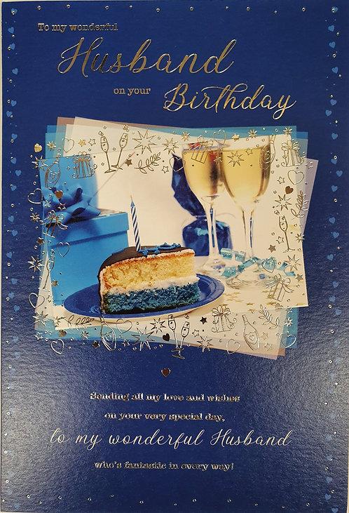 Husband Birthday Greeting Card With Cake