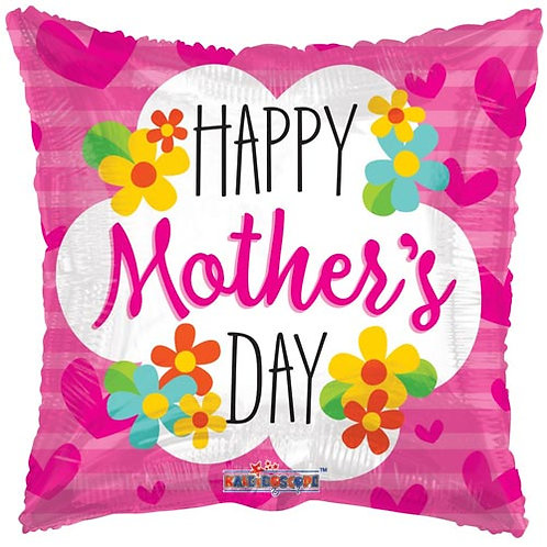 """18"""" Mother's Day Flower Square Balloon - Helium Filled"""