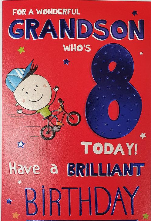 Grandson 8th Birthday Greeting Card