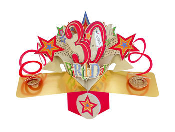 30th - Stars Pop Up Greeting Card