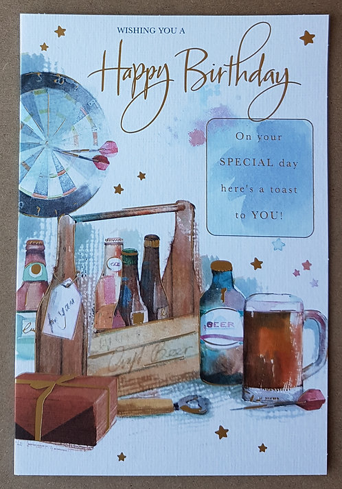 Male Birthday Greeting Card - Dartboard & Beer