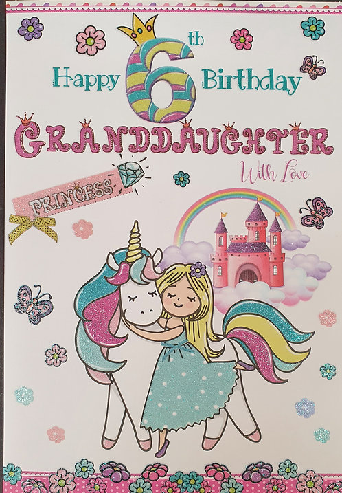 Granddaughter 6th Birthday Greeting Card With Unicorn Front
