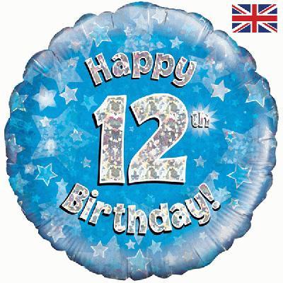 "18"" Blue 12th Birthday Balloon - Helium Filled"