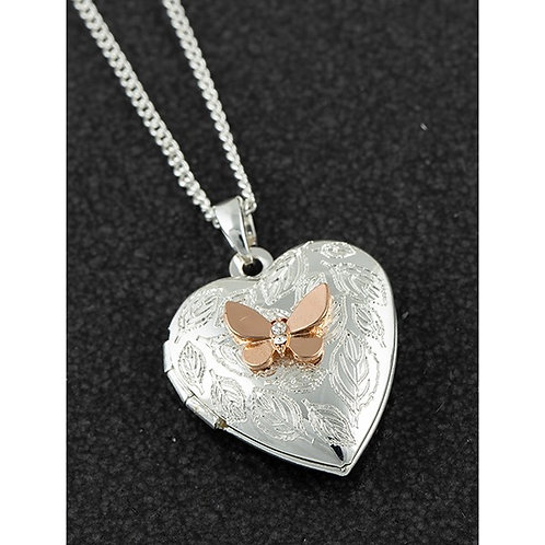 Equilibrium Two Tone Heart Butterfly Locket