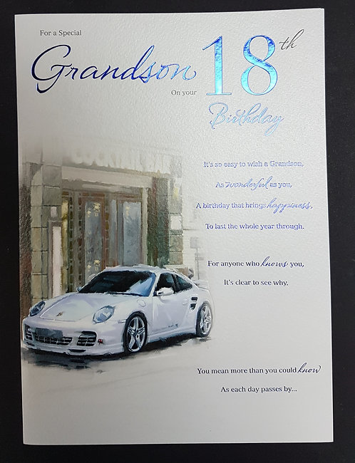 Grandson 18th Birthday Card