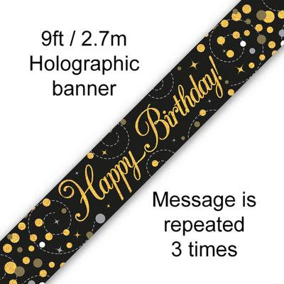 Black And Gold Happy Birthday Party Banner