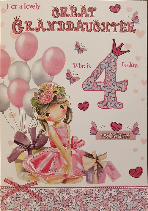 Great Granddaughter 4th Birthday Card