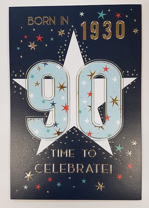 Born in 1930 - Male Age 90 Tri-Fold Card