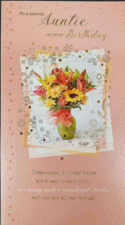 Auntie Birthday Greeting Card With Vase Of Flowers