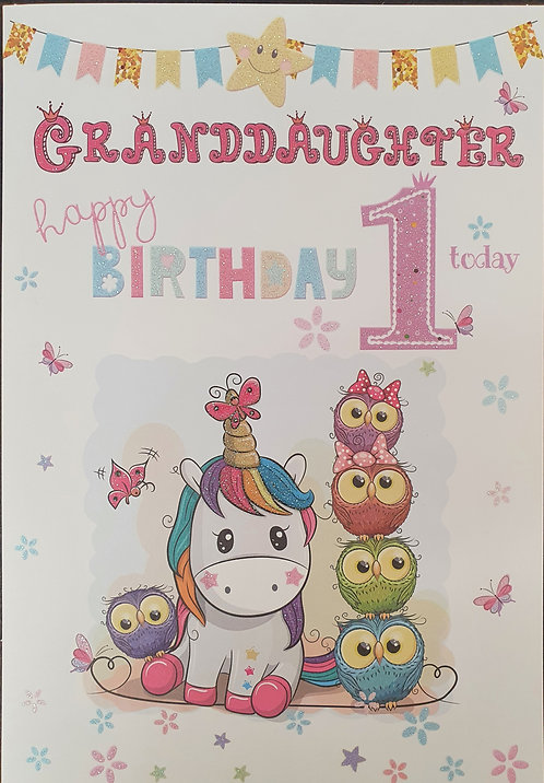 Granddaughter 1st Birthday Greeting Card Front