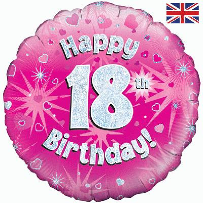 "18"" Pink 18th Birthday Balloon - Helium Filled"