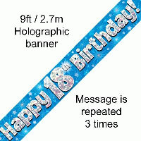 Blue 18th Happy Birthday Party Banner