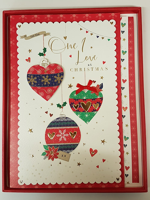 One I Love Christmas Boxed Card - Baubles