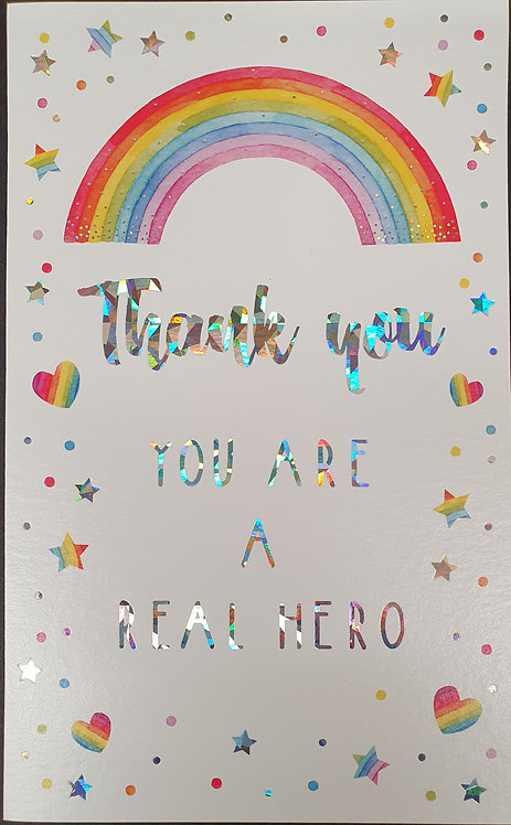 Thank You Hero Greeting Card With Rainbows