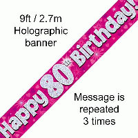 Pink 80th Happy Birthday Party Banner