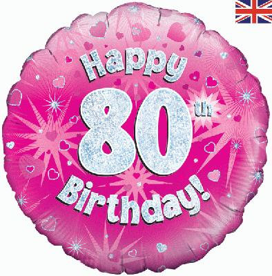 "18"" Pink 80th Birthday Balloon - Helium Filled"