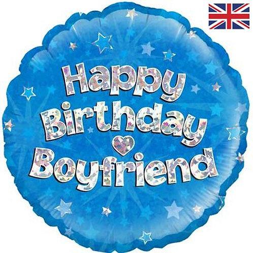"18"" Blue Happy Birthday Boyfriend Balloon - Helium Filled"