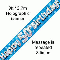 Blue 50th Happy Birthday Party Banner