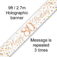 Rose Gold 80th Happy Birthday Party Banner