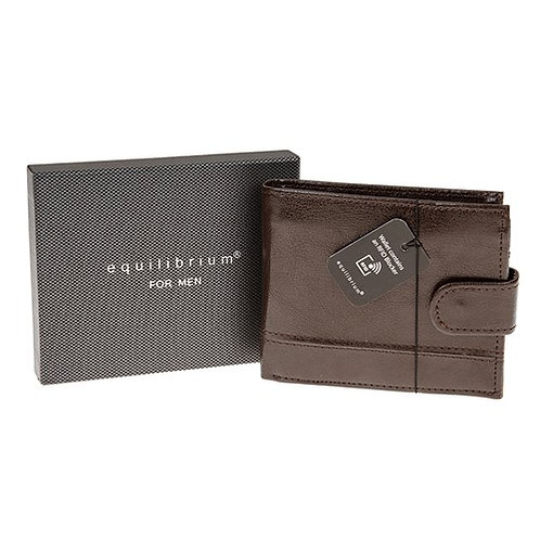 Men's Brown Wallet with RFID Blocker by Equilibrium