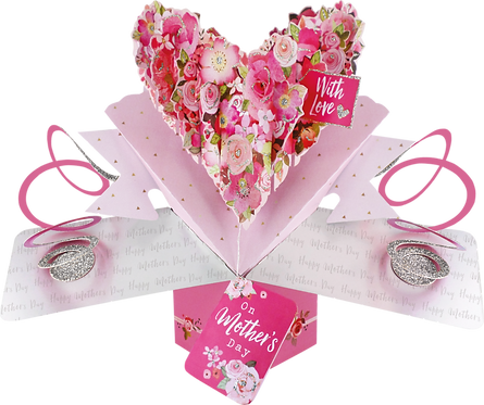 Pop Up Card - Mother's Day, Large Floral Heart