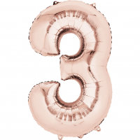 large rose gold number 3 foil helium balloon