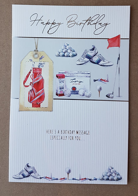 Male Birthday Greeting Card - Golf
