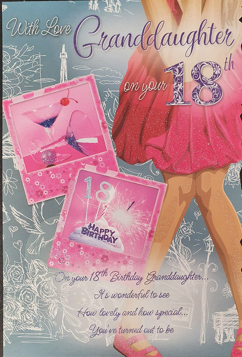 Granddaughter 18th Birthday Greeting Card Front