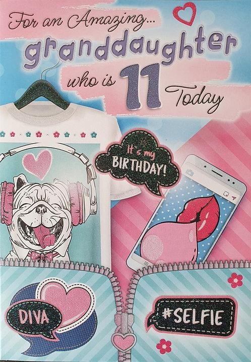 Granddaughter 11th Birthday Card