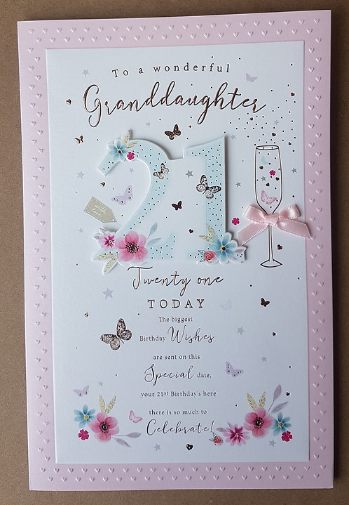 Granddaughter 21st Birthday Greeting Card With Butterflies