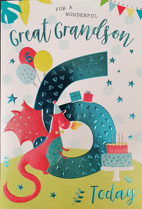 Great Grandson 6th Birthday Greeting Card Dragon Front