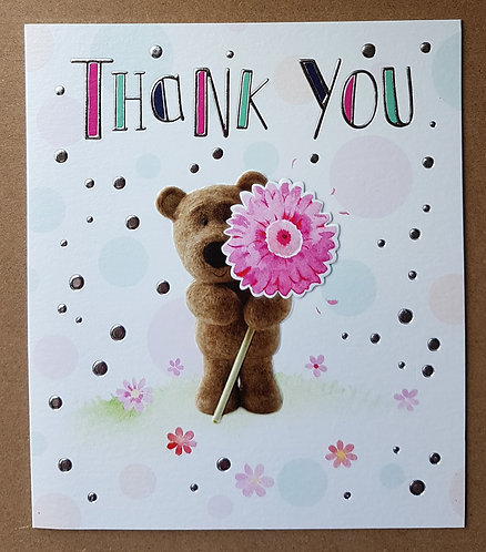 Thank You Greeting Card With Barley Bear And Flower