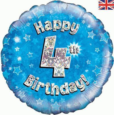 "18"" Blue 4th Birthday Balloon - Helium Filled"