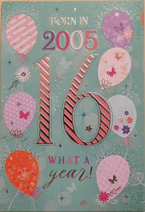 Born in 2005 - Female Age 16 Tri-Fold Birthday Greeting Card