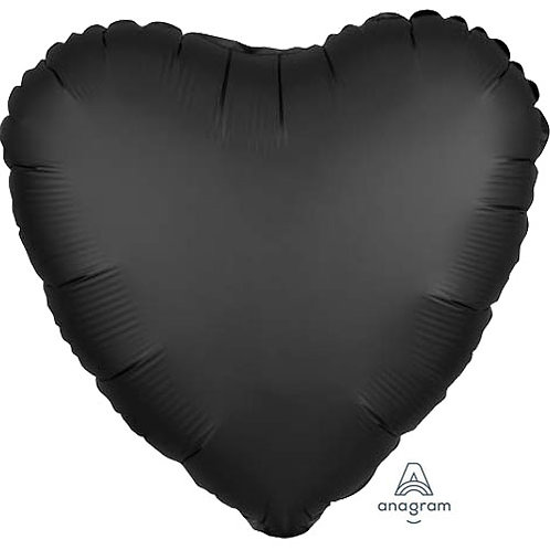 "18"" Onyx Black Heart -  Anagram Balloon - Helium Filled"