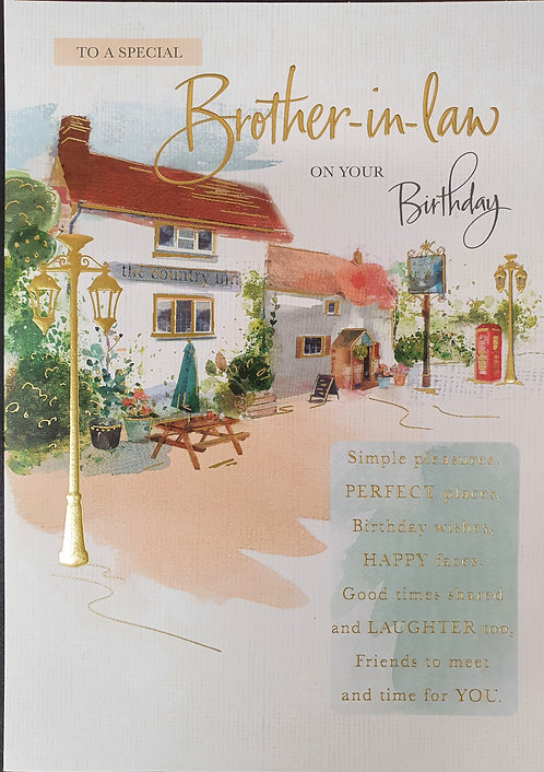 Brother-in-Law Birthday Greeting Card With Country Pub
