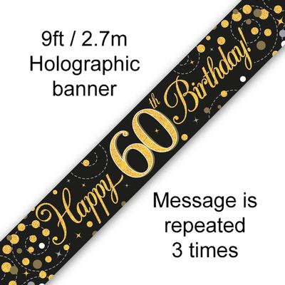 Black And Gold 60th Happy Birthday Party Banner