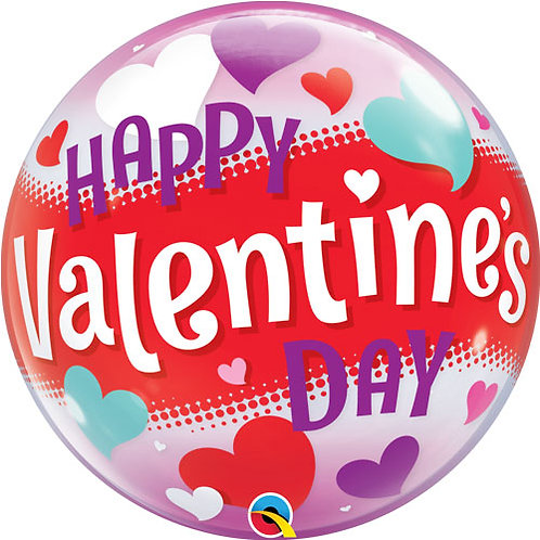 """22"""" Valentine's Day Hearts Bubble Balloon - Helium Filled"""