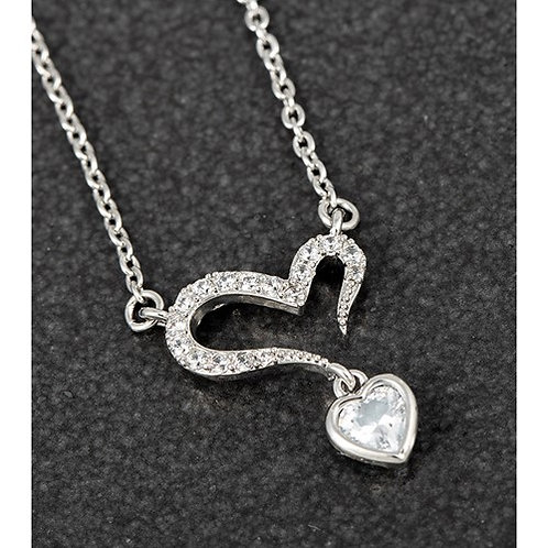 Equilibrium Open Heart Dangly Crystal Platinum Plated Necklace