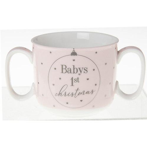Babys 1st Christmas twin handled mug