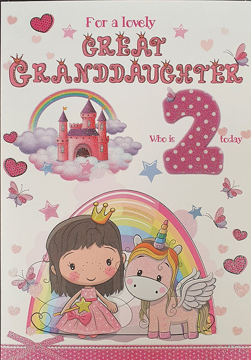 Great Granddaughter 2nd Birthday Greeting Card With Unicorn