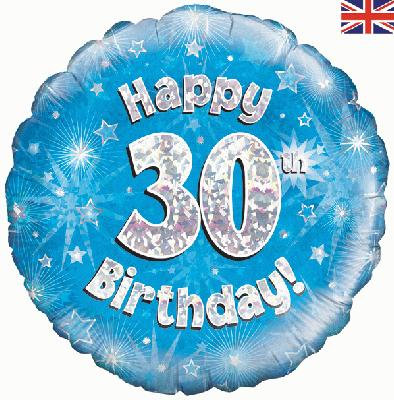 "18"" Blue 30th Birthday Balloon - Helium Filled"