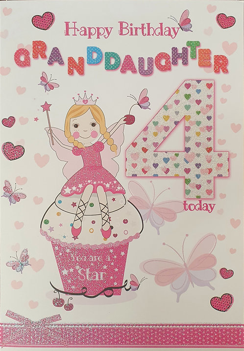 Granddaughter 4th Birthday Greeting Card Front