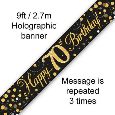 Black And Gold 70th Happy Birthday Party Banner