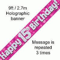 Pink 15th Happy Birthday Party Banner