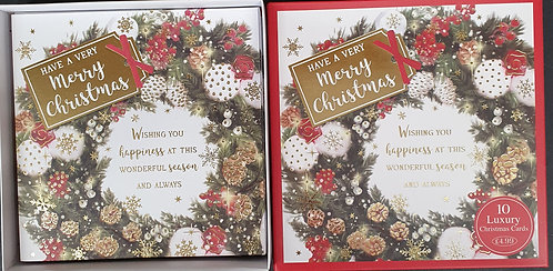 Multipack Box of 10 Luxury Christmas Cards - Christmas Wreath