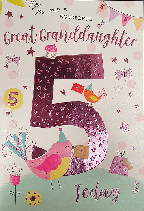 Great Granddaughter 5th Birthday Greeting Card