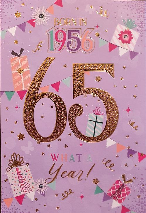 Born in 1956 - Female Age 65 Tri-Fold Birthday Greeting Card