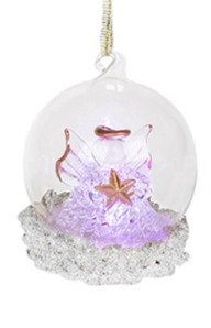 Glass Art LED Bauble - Angel (Small)